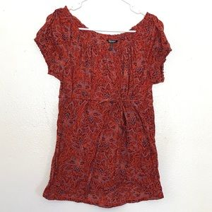 (2for20)Daisy Fuentes Gathered Orange Blouse (L)